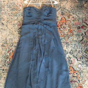 Steel blue bridesmaid dress